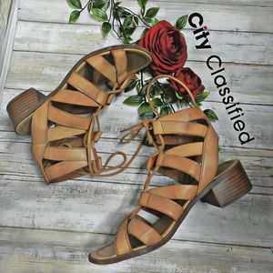 0af58123862a Cityclassified Shoes - city classified tan gladiator chunky heel sandals